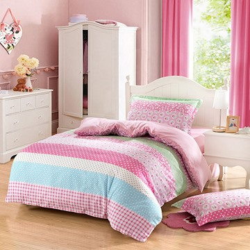 Stripes and Flowers Pattern Purified Cotton Casual Style 3-Piece Pink Kids Duvet Covers/Bedding Sets