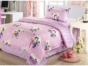 Sweet Couples Print Kids Cotton 3-Piece Duvet Cover Sets
