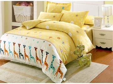 Giraffe and Small Flower Pattern Cotton Cute Style 4-Piece Duvet Covers/Bedding Sets