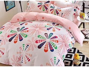 Creative Big Flowers Pattern Kids Cotton Duvet Cover Sets