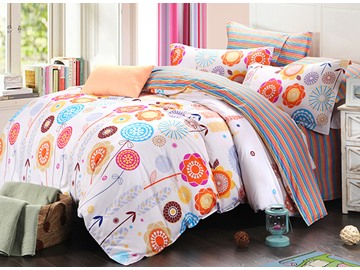 Colorful Stripes and Floral Pattern 100% Cotton Kids 3-Piece Duvet Cover Sets