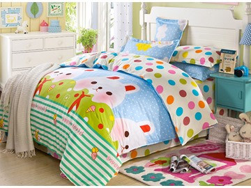 Childhood Dream Rabbit Pattern 100% Cotton Girls 4-Piece Duvet Cover Sets