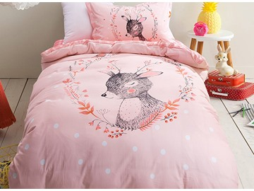 Deer Pattern Purified Cotton Princess Style 3-Piece Kids Duvet Covers/Bedding Sets