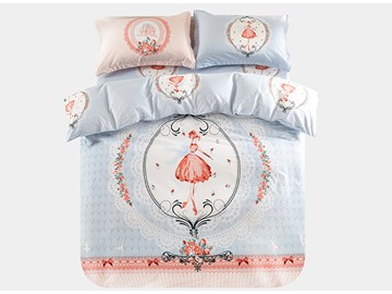 Little Princess Pattern 3-Piece Purified Cotton Kids Duvet Cover Sets