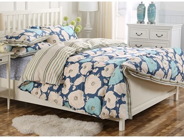 Spring Fresh Big Flower Pattern Kids Cotton 4-Piece Duvet Cover Sets