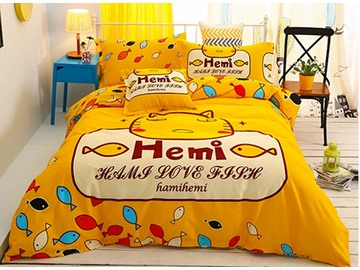 Lovely Cute Cat and Fish 4-Piece Duvet Cover Sets