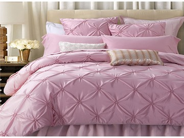 Retro Pink Stereoscopic Embellishment 6-Piece Polyester Duvet Cover Sets