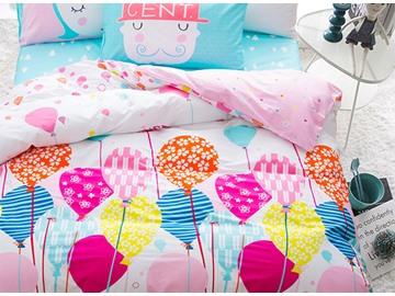 Balloon Pattern Cotton Princess Style 4-Piece Pink Kids Duvet Covers/Bedding Sets