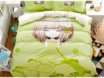 Pretty Girl with Light Green Dress Print 4-Piece Duvet Covet Sets