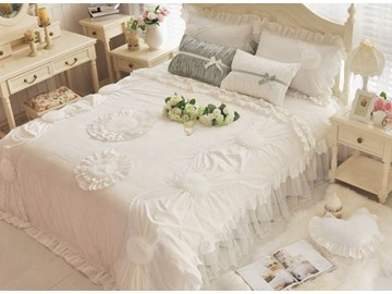 Dreamy Princess Style Applique 4-Piece Cotton Duvet Cover Sets