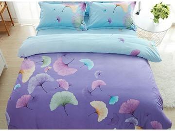Noble Ginkgo Leaves Print 4-Piece Cotton Duvet Cover Sets