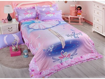Wonderful Ballet Skirt Pattern Kids Cotton 4-Piece Duvet Cover Sets
