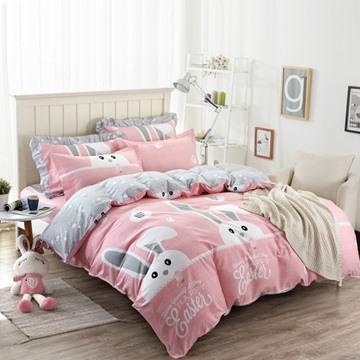 Rabbit Pattern Pink Kids Cotton 4-Piece Duvet Cover Sets