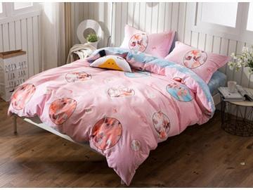 Modern Design Pink 4-Piece Cotton Duvet Cover Sets