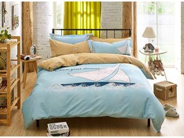 Sailing Pattern Light Blue Kids Cotton 4-Piece Duvet Cover Sets