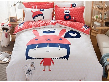 Lovely Girl with Dog Pattern Kids Cotton 4-Piece Duvet Cover Sets