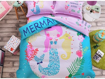 Lovely Cartoon Cat Pattern 3 Pieces 100% Cotton Duvet Cover Sets