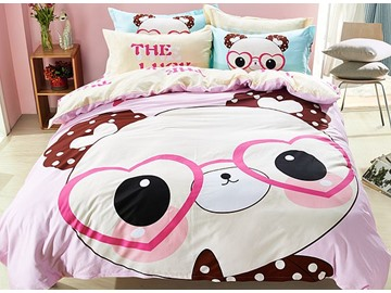 Panda Pattern Cotton Cute Style 4-Piece Pink Duvet Covers/Bedding Sets