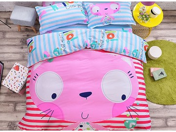 Pink Face Cat Pattern Kids Cotton 4-Piece Duvet Cover Sets