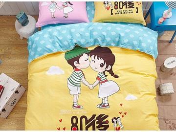 Couple Pattern Yellow Kids Cotton 4-Piece Duvet Cover Sets