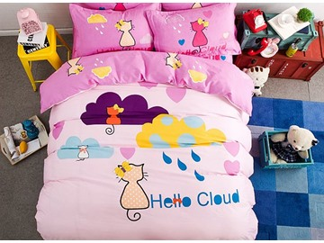 Rainy and Cat Pattern Kids Cotton 4-Piece Duvet Cover Sets