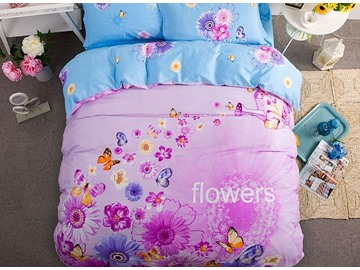 Colorful Butterfly Pattern Kids Cotton 4-Piece Duvet Cover Sets