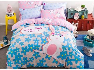Cute Pink Rabbit Pattern Kids Cotton 4-Piece Duvet Cover Sets