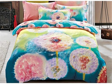 3D Watercolor Dandelion Printed Cotton 4-Piece Bedding Sets/Duvet Cover