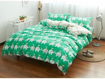 Cute Elephant Print Green 4-Piece Cotton Duvet Cover Sets