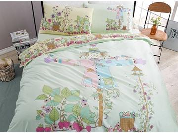 Adorable Scarecrow Print 4-Piece Cotton Duvet Cover Sets
