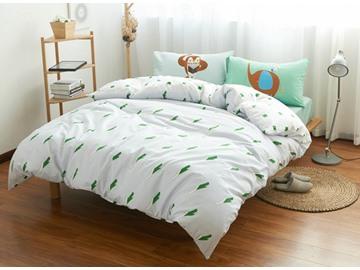 Fresh Style White 100% Cotton 4-Piece Duvet Cover Sets