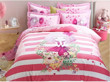 Pretty Girl Pattern Kids Cotton 4-Piece Duvet Cover Sets