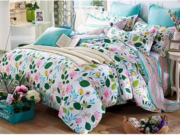 Charming Flowers Pattern 4 Pieces Cotton Duvet Cover Sets