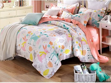 Happy Time Pattern 4 Pieces Kids Cotton Duvet Cover Sets