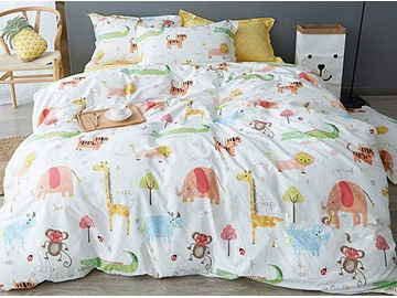 Crazy Animals Pattern 4 Pieces Kids Cotton Duvet Cover Sets