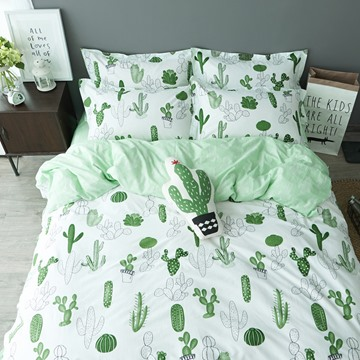 Cartoon Cactus 4 Pieces 100% Cotton Duvet Cover Sets