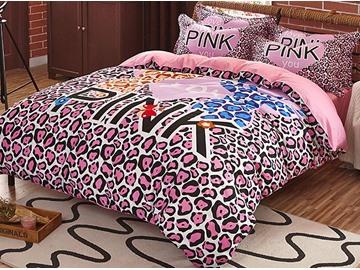 Pretty Pink leopard Print 4-Piece Cotton Duvet Cover Sets