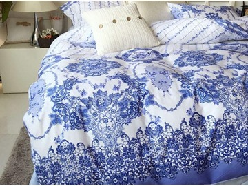 Special Blue and White Porcelain Pattern Cotton Duvet Cover Sets
