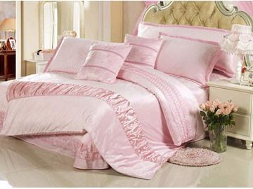 Soft Light Pink Suede 4-Piece Duvet Cover Sets