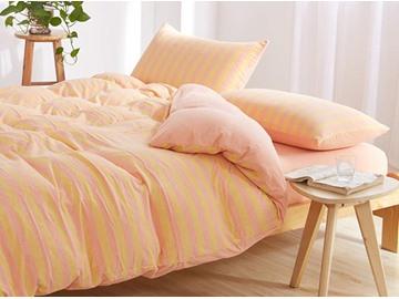 Super Soft Stripe Pattern Cotton 4-Piece Duvet Cover Set