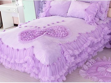 Amazing Lace Edging Bowknot Pattern Design 4-Piece Princess Duvet Cover Sets