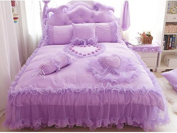 Romantic Lace Edging Heart Design Pattern 4-Piece Duvet Cover Sets