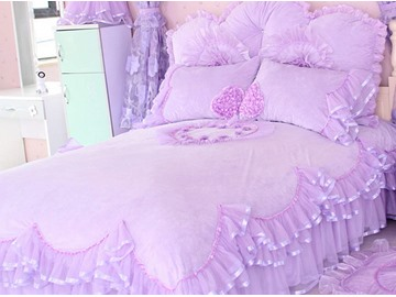 Pretty Lace Edging Heart Pattern Design 4-Piece Princess Duvet Cover Sets