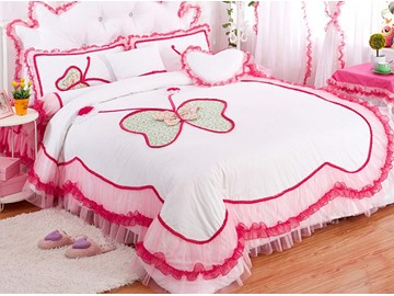 Lovely Lace Butterfly Pattern Design 4-Piece Princess Duvet Cover Sets