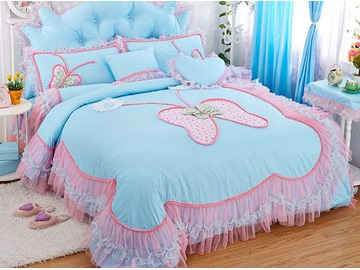 Charming Lace Butterfly Pattern Design 4-Piece Princess Duvet Cover Sets