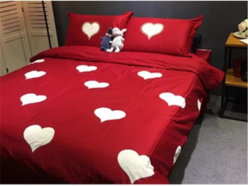Stunning White Hearts Pattern Red Background Cotton 4-Piece Duvet Cover Sets