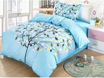 Colorful Tree Pattern Cotton Twin Size 3-Piece Blue Duvet Covers/Bedding Sets
