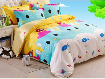 Cartoon Bear Pattern 4 Pieces 100% Cotton Duvet Cover Sets