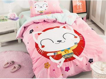Pretty Cartoon Cat Pattern 3 Pieces 100% Cotton Duvet Cover Sets