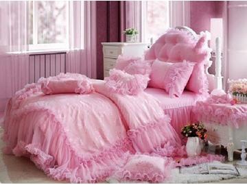 Total Lace Trim Cotton Romantic Cinderella Pink Duvet Covers/Bedding Sets